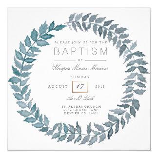 "Steel Blue Vine | Watercolor Wreath Baptism 5.25"" Square Invitation Card"