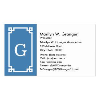 Steel Blue Wht Greek Key Frame #2 Initial Monogram Business Card