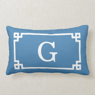 Steel Blue Wht Greek Key Frame #2 Initial Monogram Lumbar Pillow