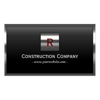 Steel Border Monogram Construction Business Card