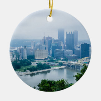 steel city skyline ceramic ornament