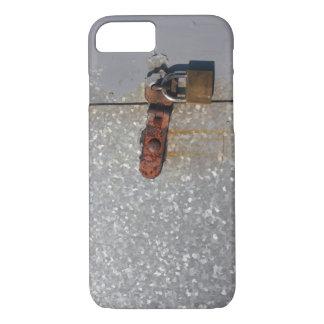 Steel doors locked with a rusty padlock iPhone 7 case