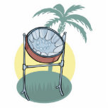 steel drum and palm tree design photo sculpture ornament