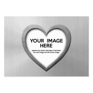 Steel Effect Heart (Personalize Before Purchase) Pack Of Chubby Business Cards
