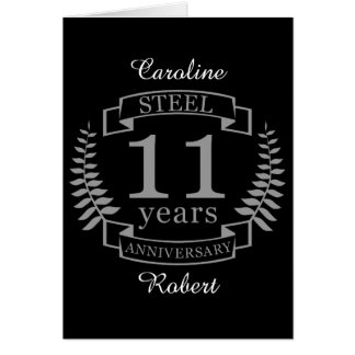 Steel Eleventh wedding anniversary 11 years Card