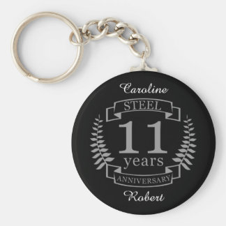 Steel Eleventh wedding anniversary 11 years Keychain