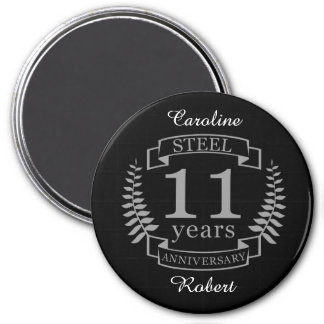 Steel Eleventh wedding anniversary 11 years Magnet