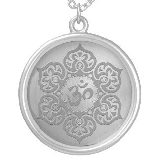 Steel Floral Ohm Design Silver Plated Necklace