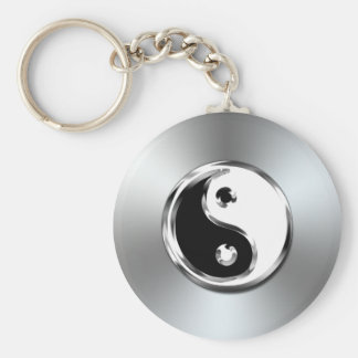 Steel Gradient Graphic Yin-Yang Symbol Keychain