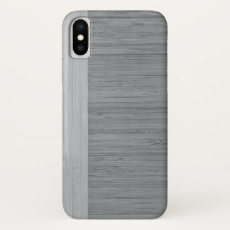 Steel Gray Bamboo Border Wood Grain Look iPhone X Case