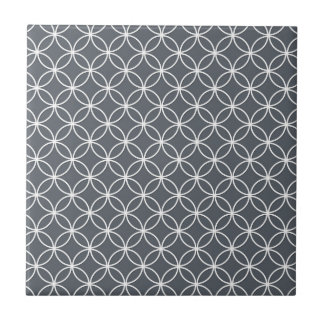 Steel Grey and White Circles Pattern Tile