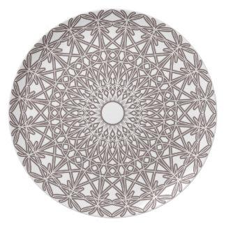 Steel Grey Crocheted Lace Plate