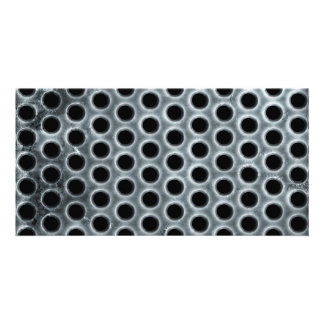 Steel Holes Metal Mesh Pattern Personalized Photo Card