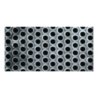 Steel Holes Metal Mesh Pattern Custom Photo Card