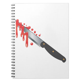 Steel Knife with Blood Spiral Notebook