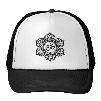 Steel Lotus Flower Om Design - black Hat