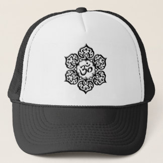 Steel Lotus Flower Om Design - black Trucker Hat