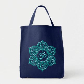 Steel Lotus Flower Om Design - blue Grocery Tote Bag