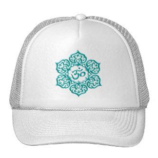 Steel Lotus Flower Om Design - blue Mesh Hats