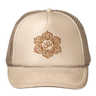 Steel Lotus Flower Om Design - brown Trucker Hats