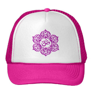 Steel Lotus Flower Om Design - purple Mesh Hats