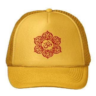 Steel Lotus Flower Om Design - red Trucker Hats