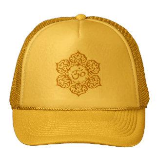 Steel Lotus Flower Om Design - yellow Trucker Hats