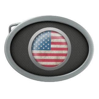 Steel Mesh American Flag Disc Graphic Oval Belt Buckles