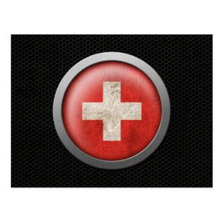 Steel Mesh Swiss Flag Disc Graphic Post Card