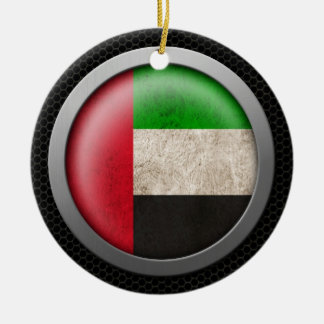 Steel Mesh United Arab Emirates Flag Disc Graphic Ceramic Ornament