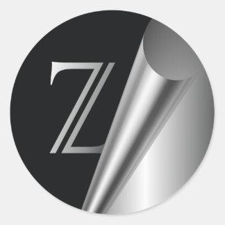 "Steel Peel Monogram ""Z"" Classic Round Sticker"
