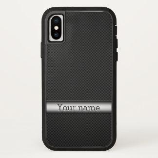 Steel striped carbon fiber iPhone x case