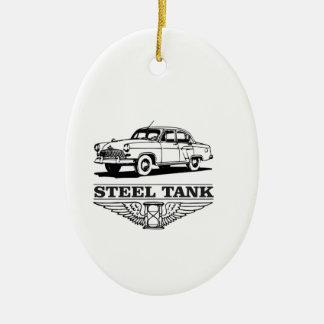 steel tank cars ceramic oval ornament