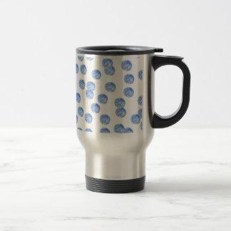 Steel travel mug with blue polka dots