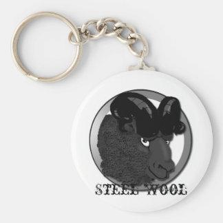 Steel Wool Basic Round Button Keychain