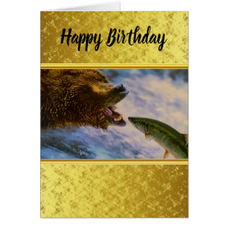 Steelhead salmon jumping into grizzly bears mouth card