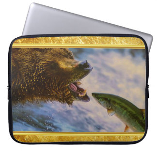 Steelhead salmon jumping into grizzly bears mouth laptop sleeve