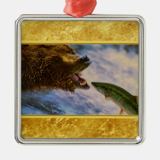 Steelhead salmon jumping into grizzly bears mouth metal ornament