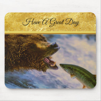 Steelhead salmon jumping into grizzly bears mouth mouse pad