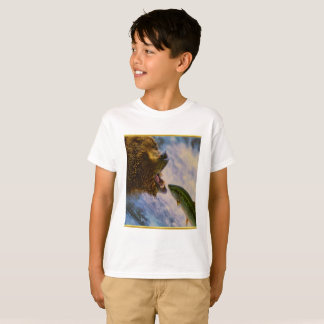Steelhead salmon jumping into grizzly bears mouth T-Shirt