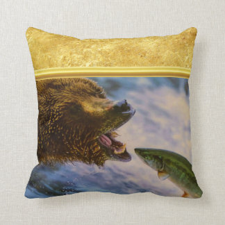 Steelhead salmon jumping into grizzly bears mouth throw pillow