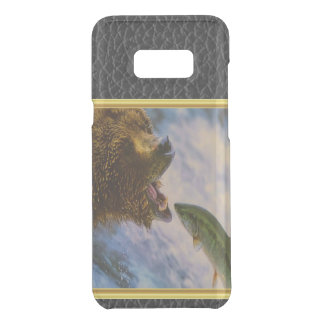 Steelhead salmon jumping into grizzly bears mouth uncommon samsung galaxy s8 plus case