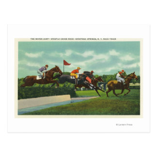 Steeple Chase Water Jump at Race Track Postcard