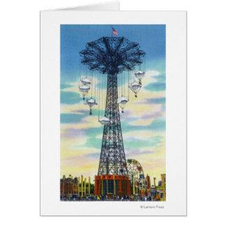 Steeplechase Park Parachute Jump Daytime Scene Card