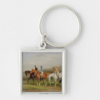 Steeplechasing: At the Start (oil on canvas) Silver-Colored Square Keychain