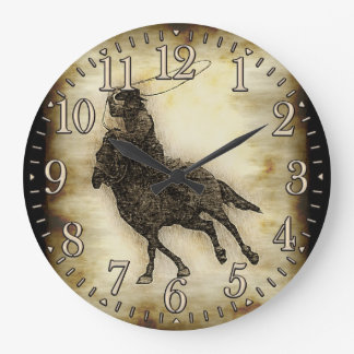 Steer Roping Rodeo Cowboy Large Clock