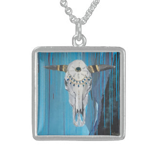 Steer skull sterling silver square necklace
