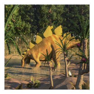 Stegosaurus dinosaur - 3D render Perfect Poster