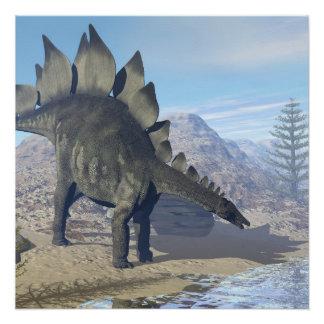 Stegosaurus dinosaur - 3D render Poster