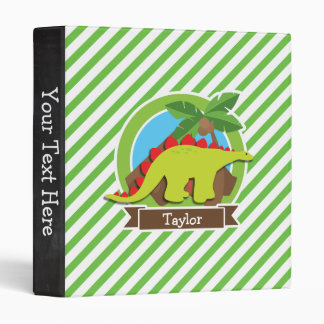 Stegosaurus Dinosaur, Dino; Green & White Stripes Vinyl Binders